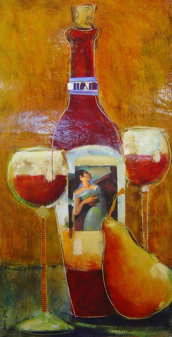 Loren Grey - Red Bottle & Pear - 25 x 15