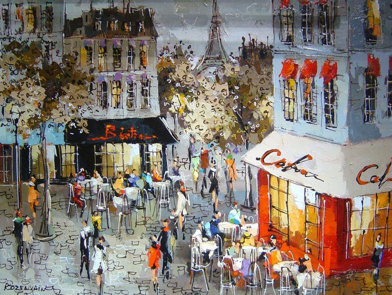 Michael Rozenvain - Café View of Paris - 37 x 47