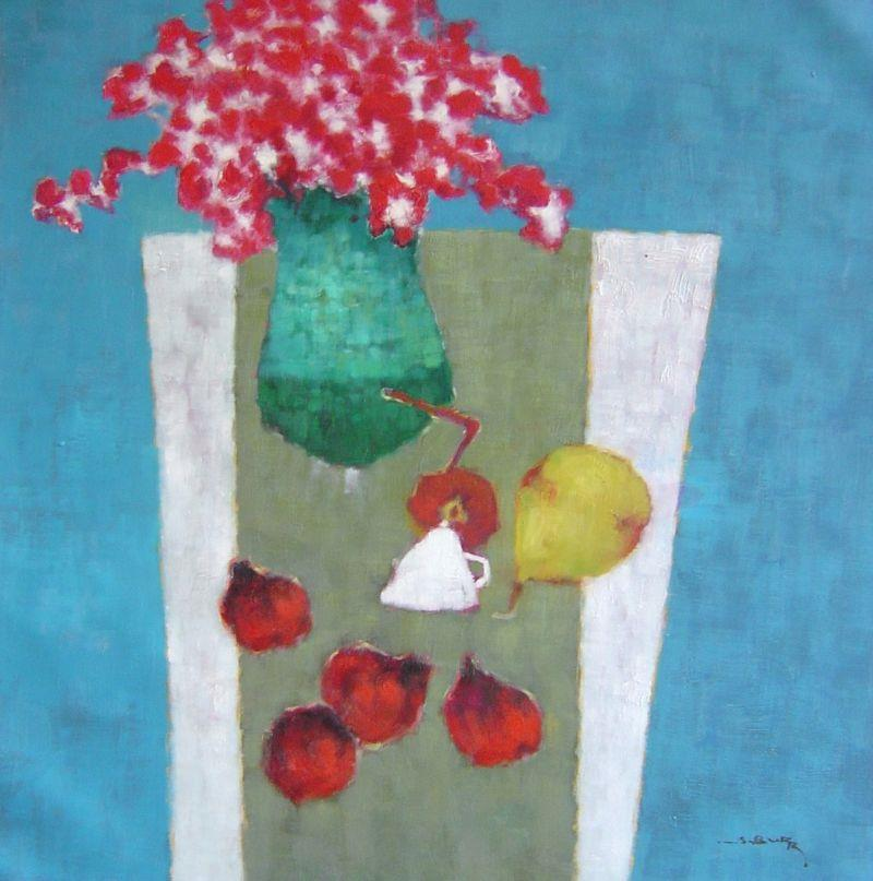 S. Burr - Blue Vase and Pomegrantes - 33 x 33