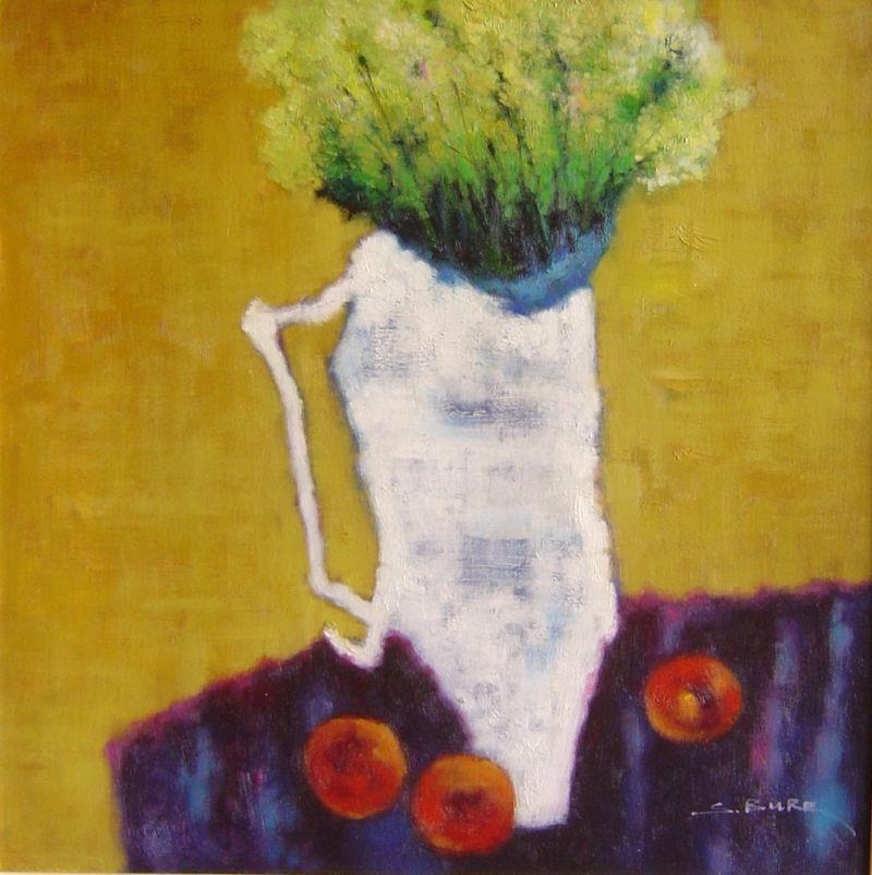 S. Burr - White Vase and Apples - 25 x 25
