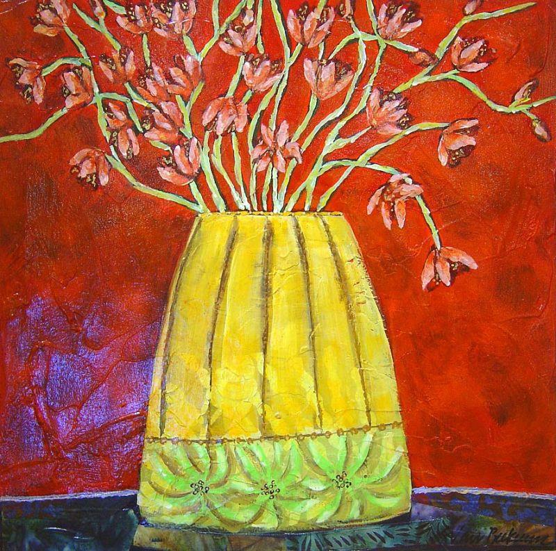 Sarah Van Beckum - Floral in Yellow Vase - 20 x 20