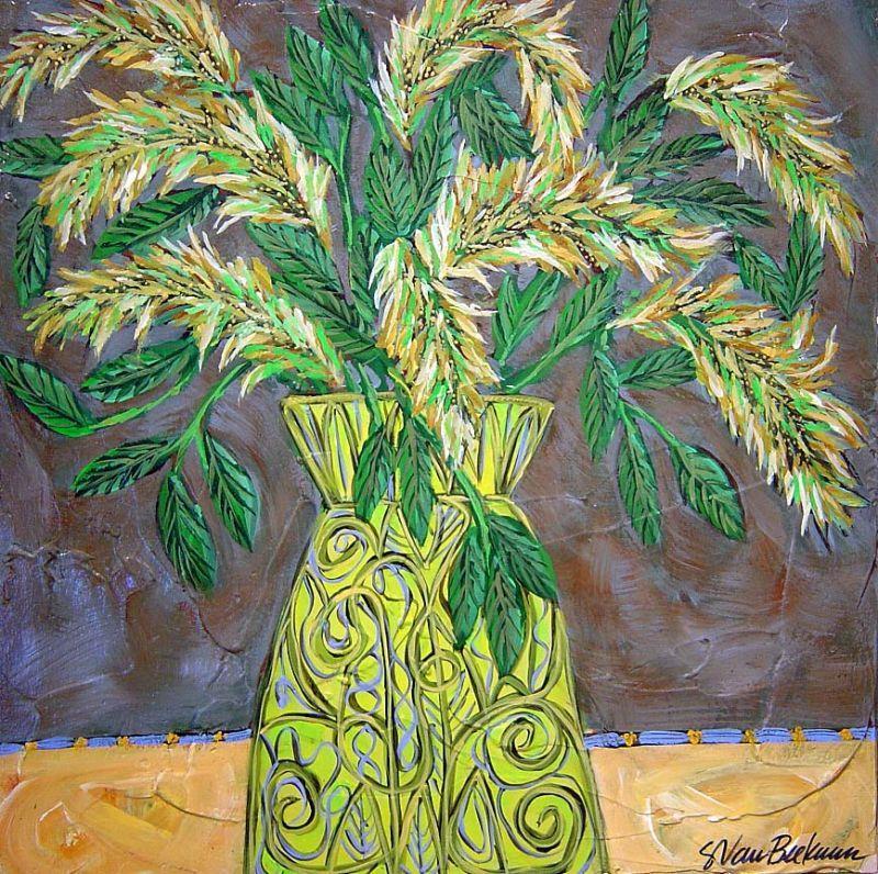 Sarah Van Beckum - Green Vase - 20 x 20