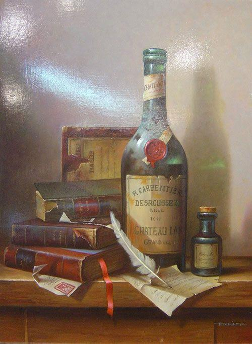 Zoltan  Preiner - Old Books & Wine - 20 x 16
