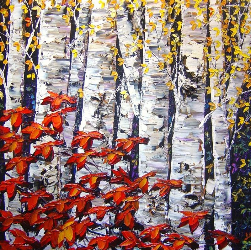 Maya Eventov - Night Birch - 48 x 48