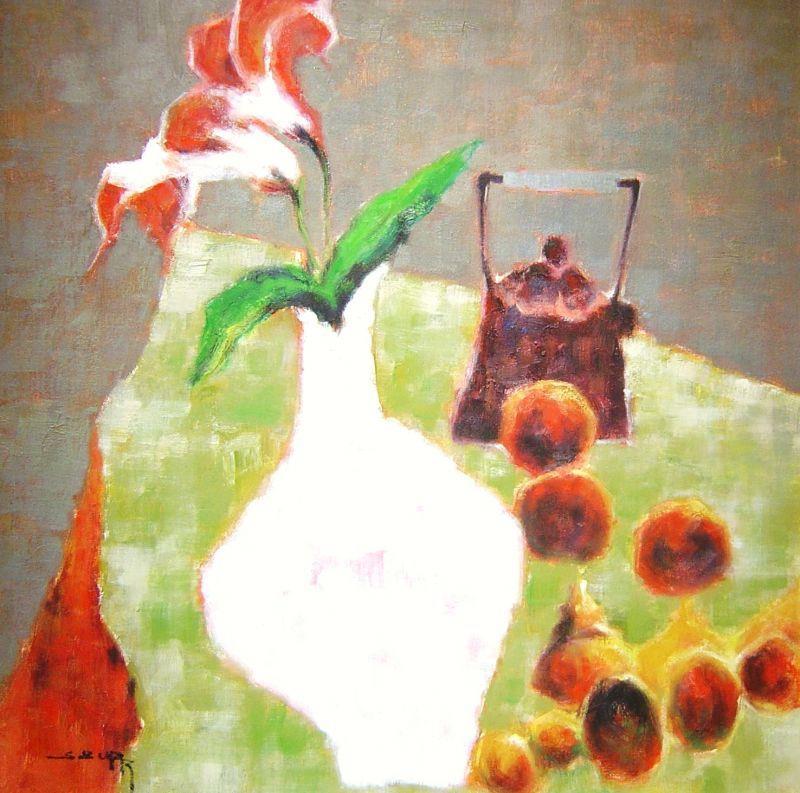S. Burr   - White Vase & Teapot - 24 x 24