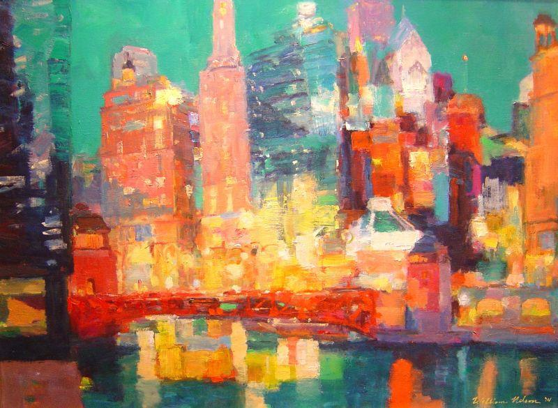 William Nelson - East View Wacker Drive - 38 x 50